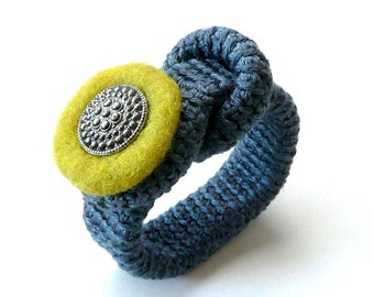 Crochet bracelet  grey sandy with button Valentine gift for her textile felted jewelry wool  handmade Birthday olive spring autumn Mother