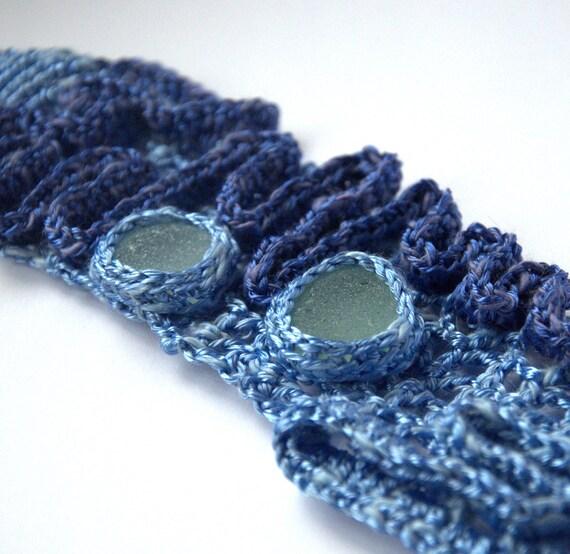 Cobalt blue - light blue bracelet with 2 white sea glass- crochet- Genuine English handmade Birthday summer autumn gift for her Mom Mum