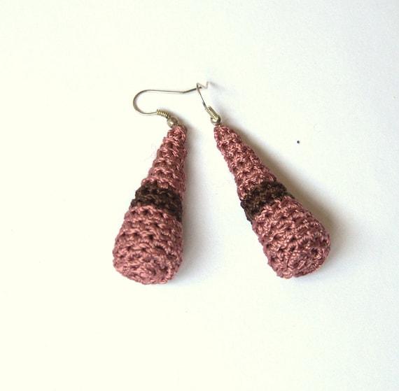 Coral - brown long dangle earrings -crochet - handmade Birthday summer autumn gift for her