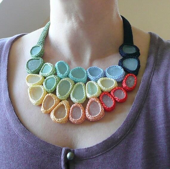 Wedding Rainbow  necklace with 23 white sea glass - crochet - OOAK handmade gift for her extraordinaire Birthday