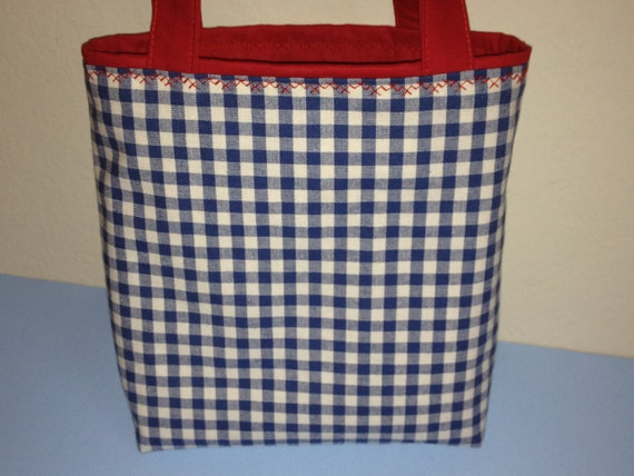 Country Checks, Basket Alternative, Gift Tote Bag, Gift Wrap, Birthday, Country Classic, Americana, 4th of July