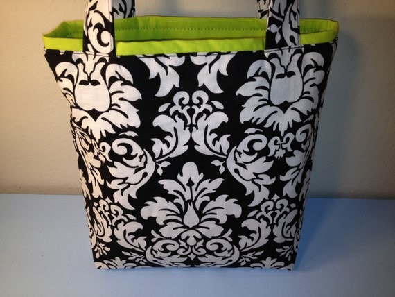 Black and White with Lemon, Michael Miller Damask Fabric, Gift Tote Bag, Gift Wrap, Reusable Gift Wrap