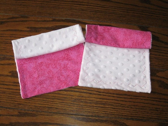 Bright Pink and Minky Dot Burp Cloths - Set of 2