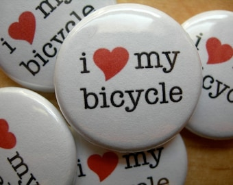 "bicycle love 1"" button"