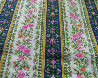 Authentic Vintage 1970s Country French Floral Stripe Fabric