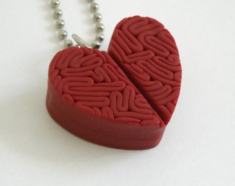 Red Zombie heart pendant