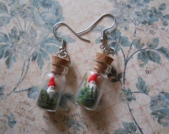 Bottled gnome earrings