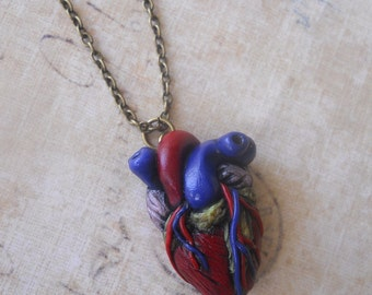 Heartbeat - Realistic anatomical heart necklace