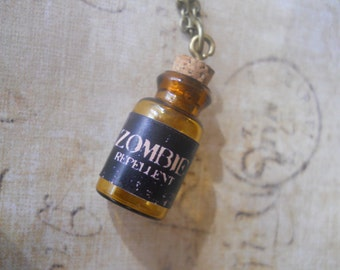 Mini glass corked zombie repellent necklace- zombie survival