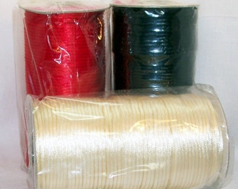 RED BLACK or  BEIGE  3mm Satin Rattail Cord 6 yards