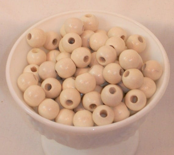 12 MM Ivory Wood Beads 100 Pieces