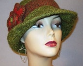 Felted Heather Sage Green Hat with Brim