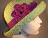 Lime Green Felted Brim Hat