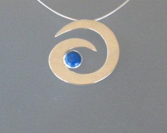 Large 3D mirror-polished sterling and denim lapis Wave on sterling omega chain