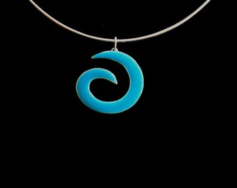 Unisex Teal 3D Painted Sterling Wave Charm