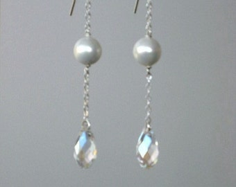 Iridescent Clear Swarovski Crystal and Shell Pearl Earrings