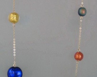 36 inch 14kt Yellow Gold and Peachy Pink, Gold, Aqua, Cobalt, and Rainbow Black Japanese and Murano Bead Necklace
