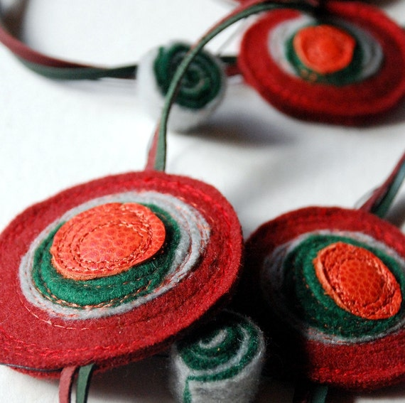 Shinzo Recycled Felt and Leather Necklace