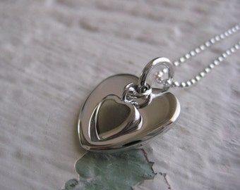 Two Of Hearts Necklace- Sterling Silver, Charm, Pendant, Chain,