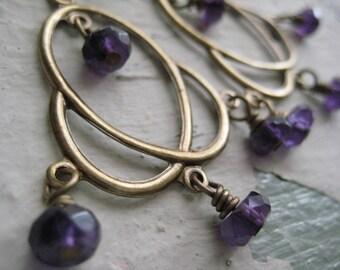 Georgina Earrings, Brass, Amethyst Gemstones