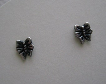Butterfly Mini Post Earrings, Oxidized Sterling Silver, Gift, Nature