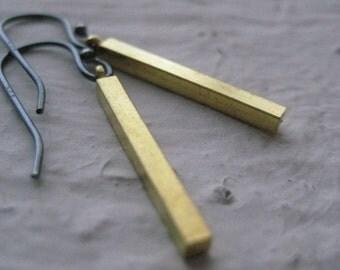 Brass Bar Earrings- Sterling Silver, Oxidized, Vintage