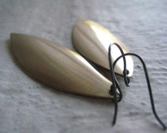 Brass Leaf Earrings, Sterling Silver, Oxidized