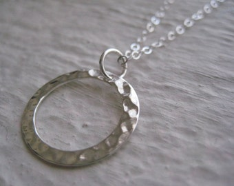Silver Ring Necklace- Sterling Silver, Hammered Link
