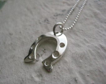 Horseshoe Necklace- Sterling Silver, Good Luck Charm, Lucky