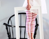 Spring 2012 Raspberry and Cream Ruffle Leggings- 3mnth to 7yr