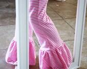 Spring 2012 Pink Stripe Ruffle Knit Leggings- 6mnth to 6yr