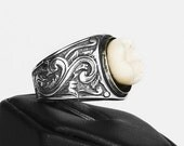 LOVED TO DEATH Genuine Human Tooth Sterling Ring Memento Mori Gothic Victorian Scroll Work Detailing Size 7 or 8