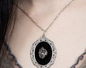 LOVED TO DEATH Taxidermy Memento Mori Couture Jewelry Sterling Silver Cameo With Black Squirrel Heart Necklace