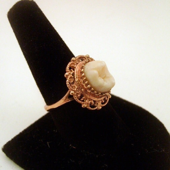 LOVED TO DEATH Memento Mori Genuine Human Tooth Ring Victorian Inspired Rose Gold Vermeil Filigree Size  6 7 8