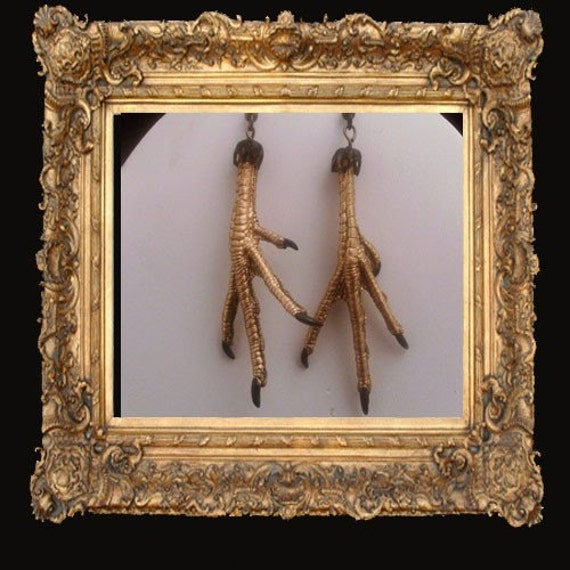 SALE REDUCED LOVED TO DEATH Gothic Victorian Bird Feet Earrings Gold