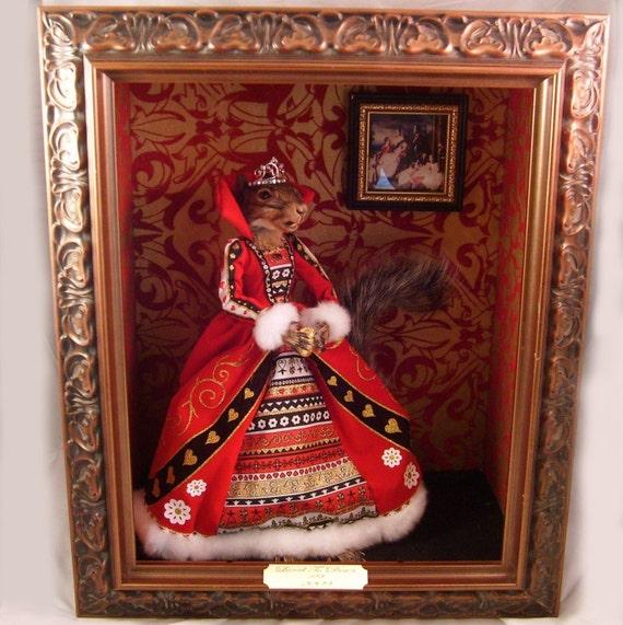 LOVED TO DEATH Taxidermy Anthropomorphic Squirrel Art Diorama Queen Victoria My Hearts Best Treasure
