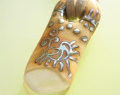 Stone Finger - Off Mandrel Ethnostyle Handmade Lampwork Glass Pendant (SRA)