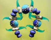 SALE Sea Dancers - Handmade Lampwork Glass Beads Set (SRA)