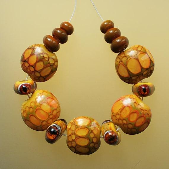 Snake Way - Wild Ocher Handmade Lampwork Beads Set (SRA)