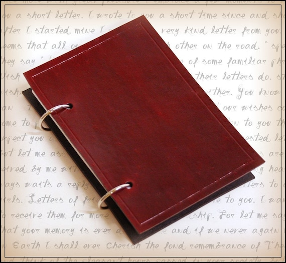 red leather ring binder journal for 3x5 index cards with free