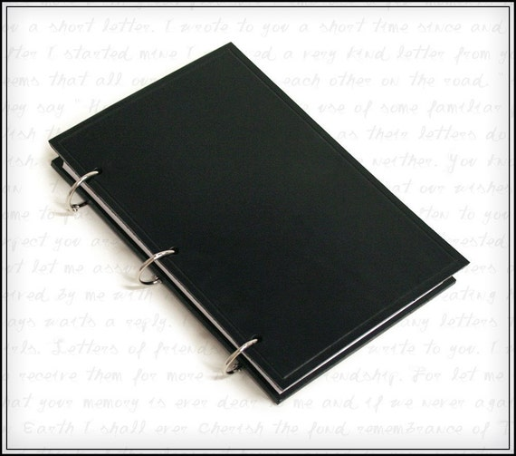Black Leather Refillable Ring Binder Journal For 5x8 Index