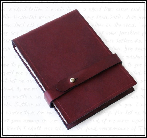 Left Handed Journal in Burgundy Leather with Free Monogramming
