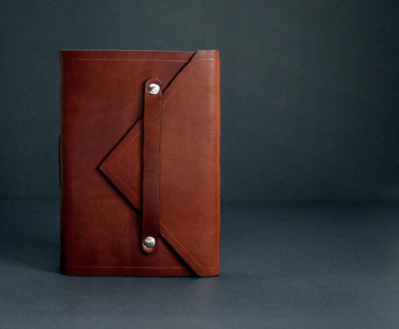 Leather Journal in Rust Brown Envelope Style with Free Monogramming