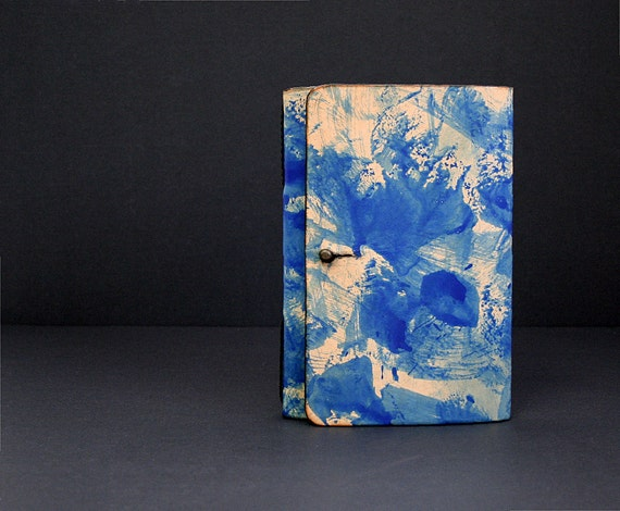 Leather Journal Refillable in Natural and Blue Splattered Dye