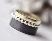 RESERVED - Stackable - Stacking Rings - set of three - 14 kt gold sterling silver - 2,5 mm - flat band dotted