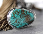 Ring - Kingman turquoise - Sterling silver - blue - size 6,5 - ooak