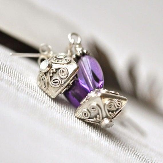 Earrings - Amethyst - Studs - Sterling silver