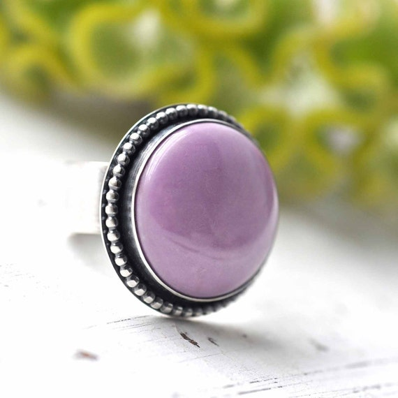 RESERVED - Sterling silver Ring - Rare Purple Phosphosiderite - size 7 - lilac ooak