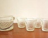 Set of 4 glasses with matching ice bucket, retro barware