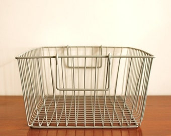 Large heavy duty metal basket, vintage storage bin in GREY